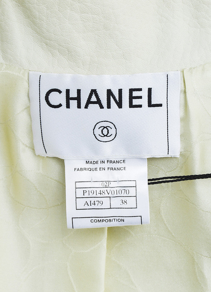 "Cream Chanel Pebbled Leather Silver Tone ""CC"" Button Jacket Brand"
