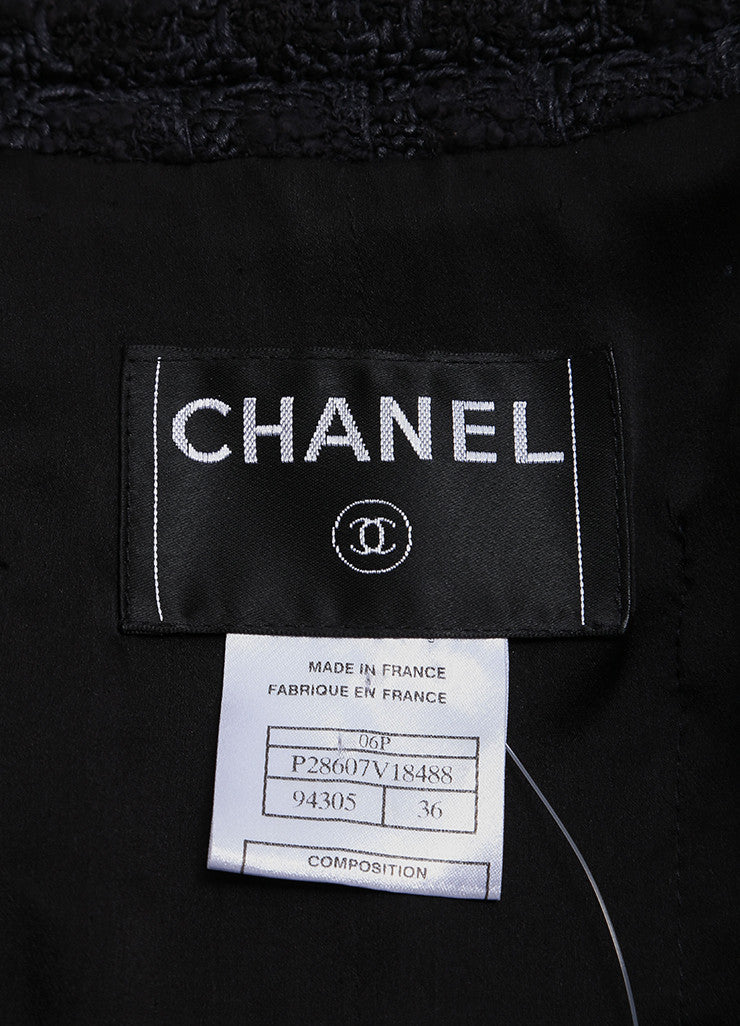 Chanel Black and Navy Blue Cotton and Silk Tweed Tie Back Button Down Jacket  Brand