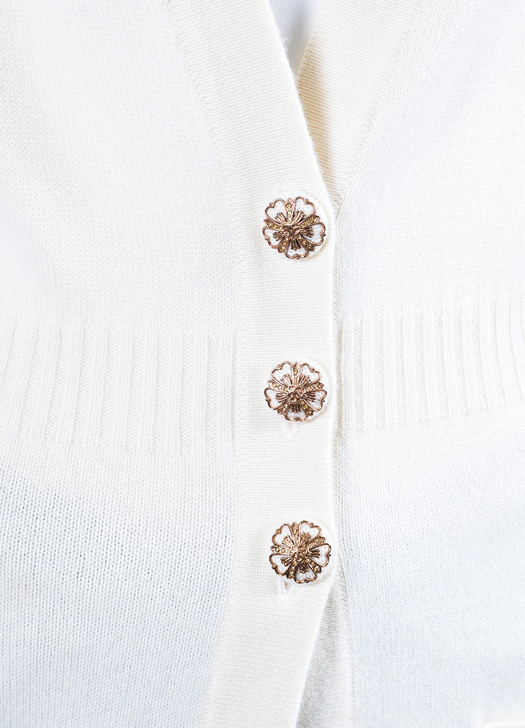 Chanel Cream Cashmere Embellished Floral Button Sweater Duster Cardigan Detail