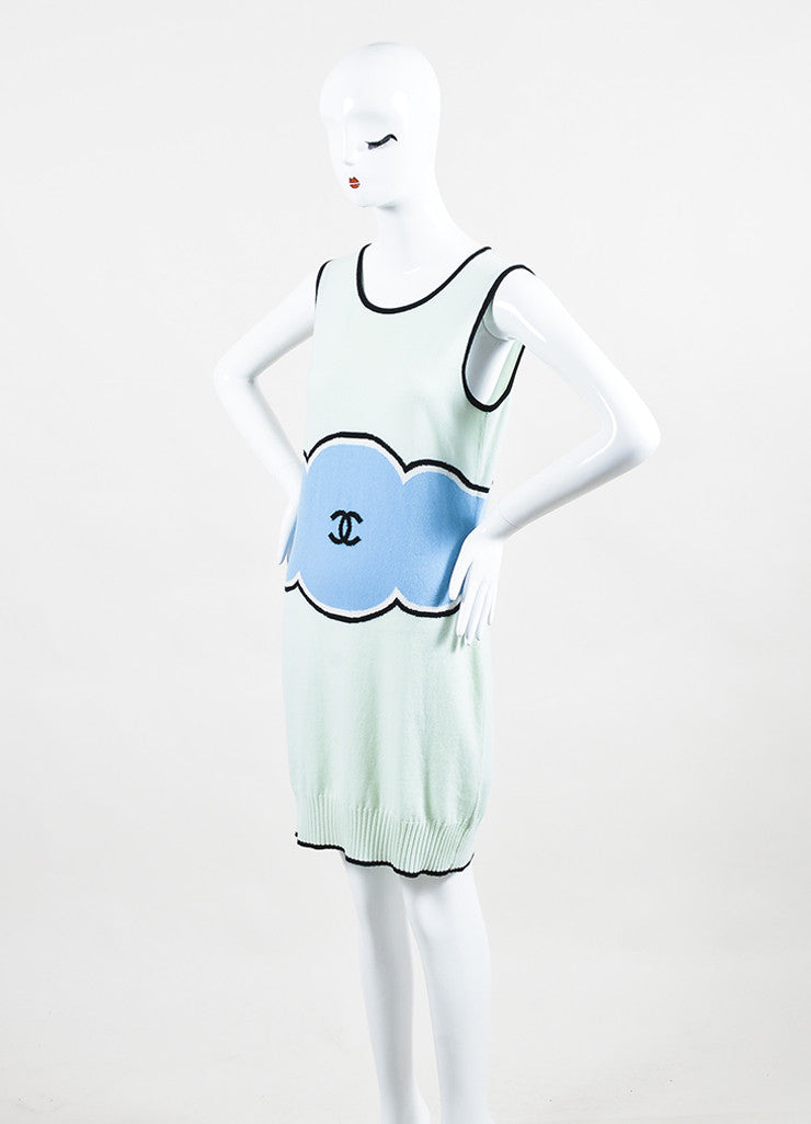Chanel Mint Green, Light Blue, and Black Cashmere 'CC' Sleeveless Sweater Dress Sideview