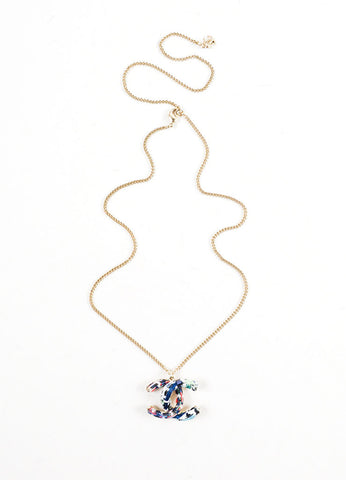 Gold Toned and Blue Tweed Chanel  'CC' Pendant Chain Necklace Frontview