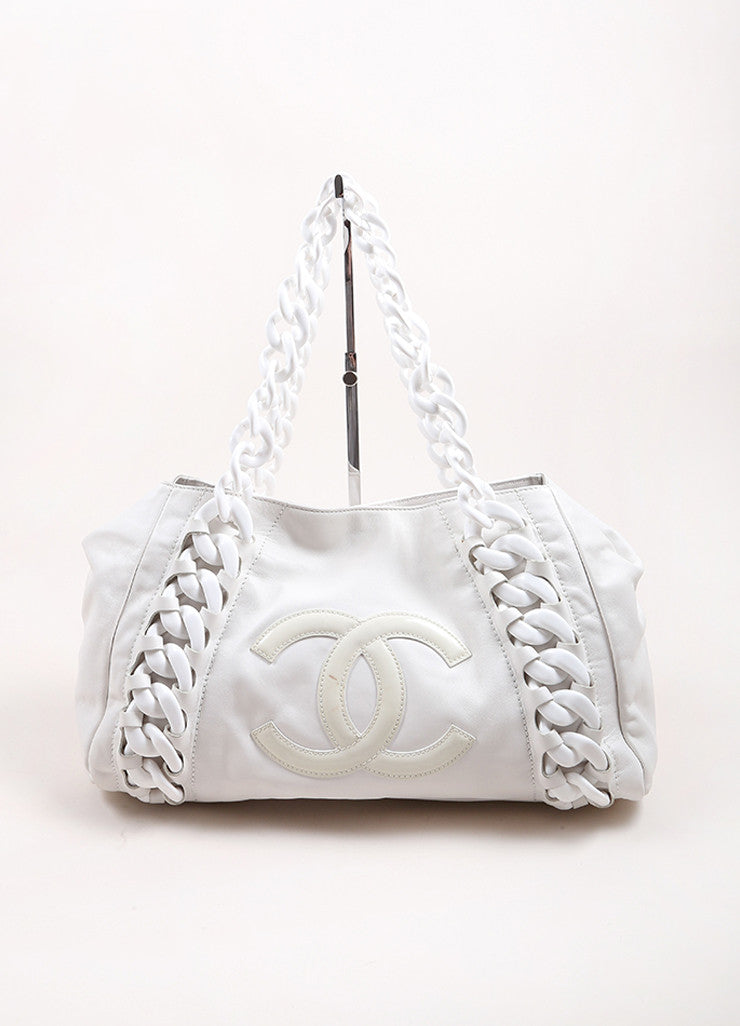 "Chanel White ""CC"" Stitch Leather Rhodoid Modern Chain Strap Bowling Bag Frontview"