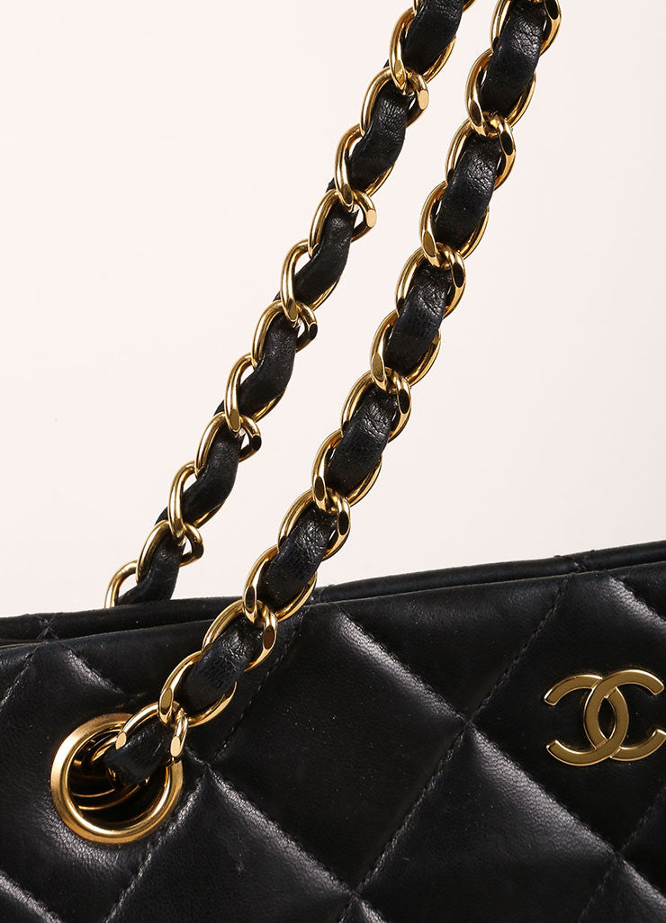 "Chanel Black Quilted Lambskin ""CC"" Chain Strap Handbag Detail 2"