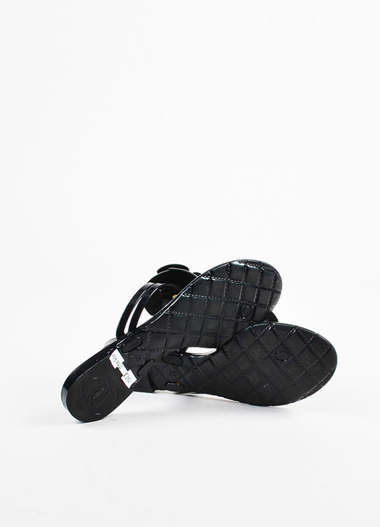 Chanel Black Rubber Camellia Flower Jelly Thong Flat Sandals Outsoles