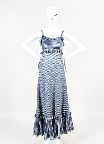 Chanel Black and White Knit Gingham Ruffle Tiered Sleeveless Maxi Dress Frontview