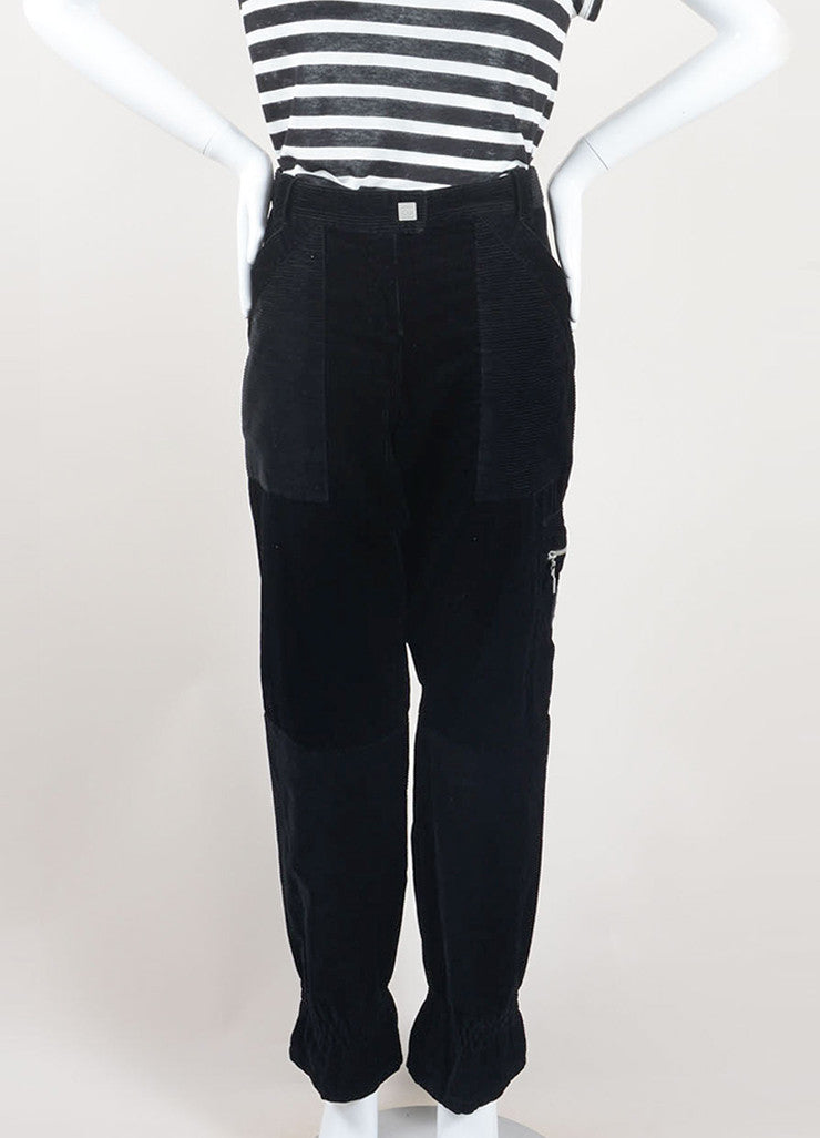 Chanel Black Cotton Corduroy Cargo Zip Wide Leg Pants Frontview