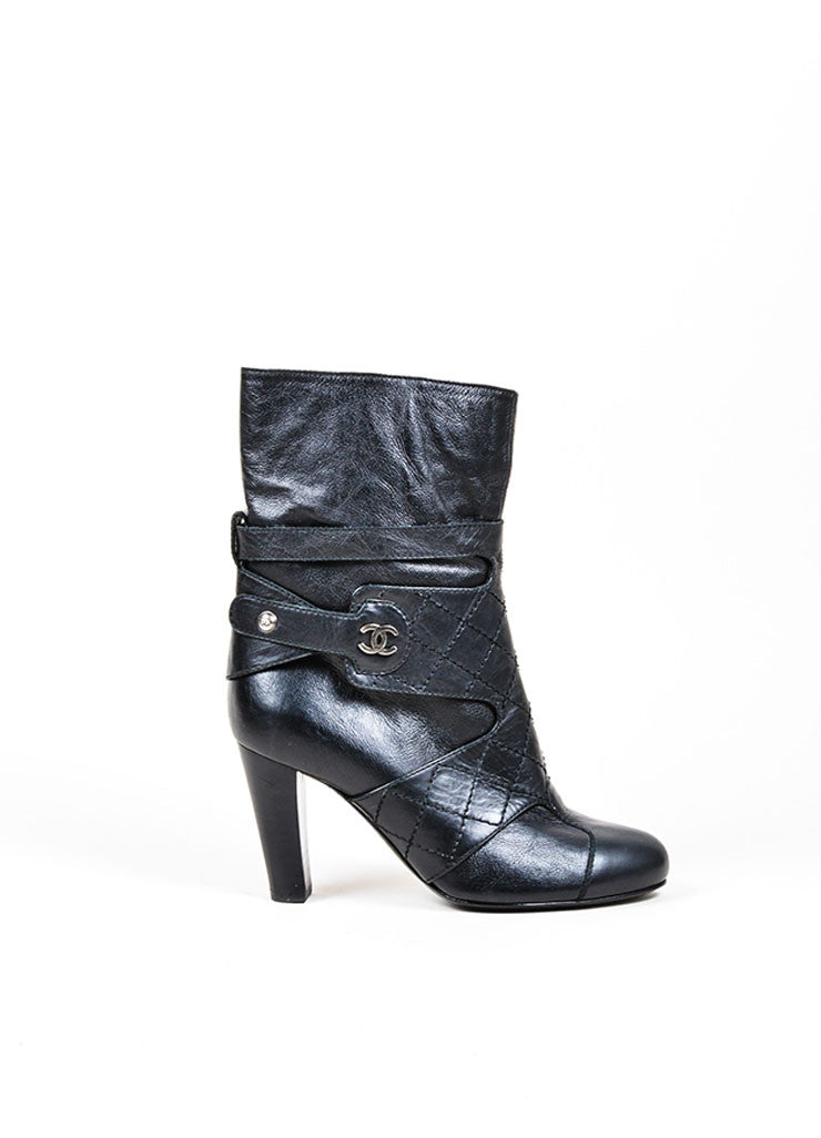 chanel quilted boots. black chanel quilted leather \u0027cc\u0027 logo ankle boots side r