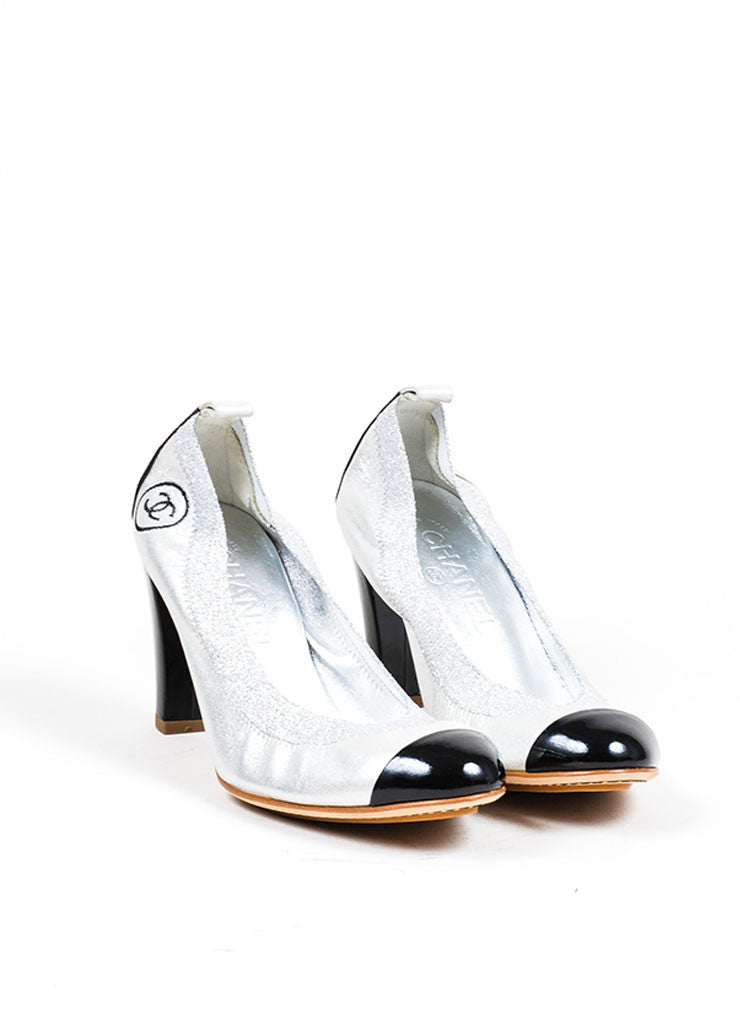 Silver Metallic and Black Chanel Patent Leather Cap Toe 'CC' High Heel Pumps Frontview