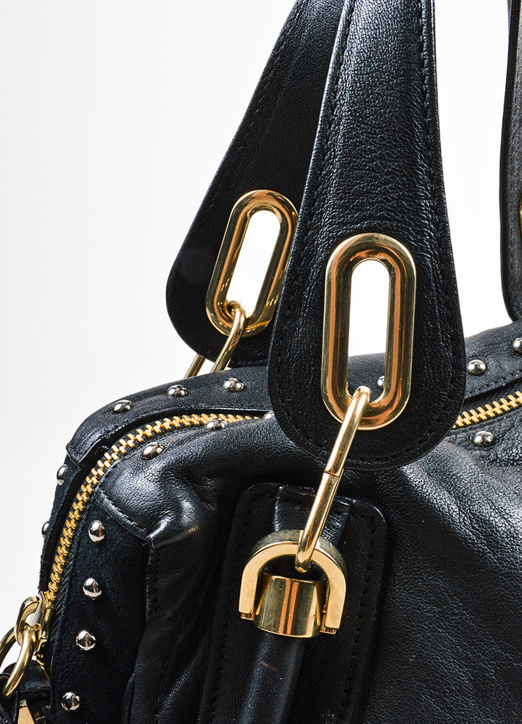 "Black and Gold Toned Chloe Leather and Suede Studded Medium ""Paraty Military"" Bag Detail 2"