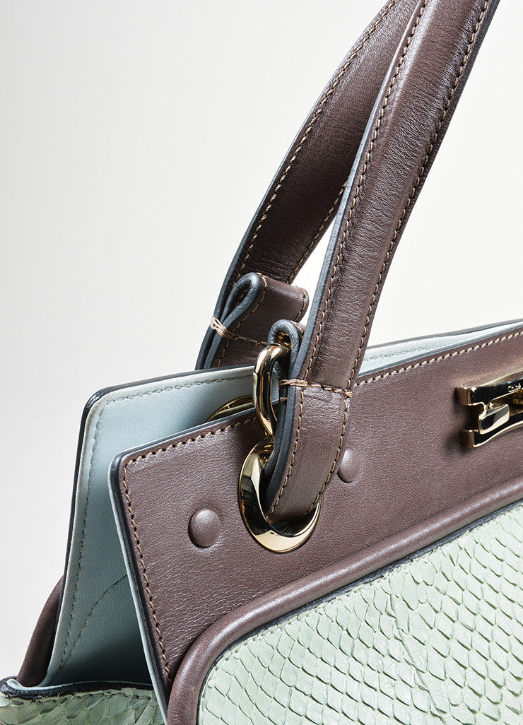 Mint Green and Brown Chloe Python Leather Top Handle Satchel Bag Detail 2