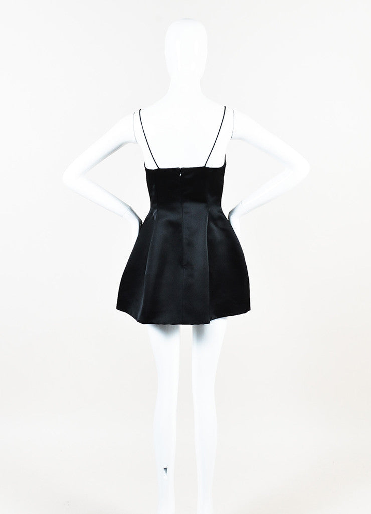 Christian Dior Black Silk Spaghetti Strap Fit and Flare Structured Dress Backview