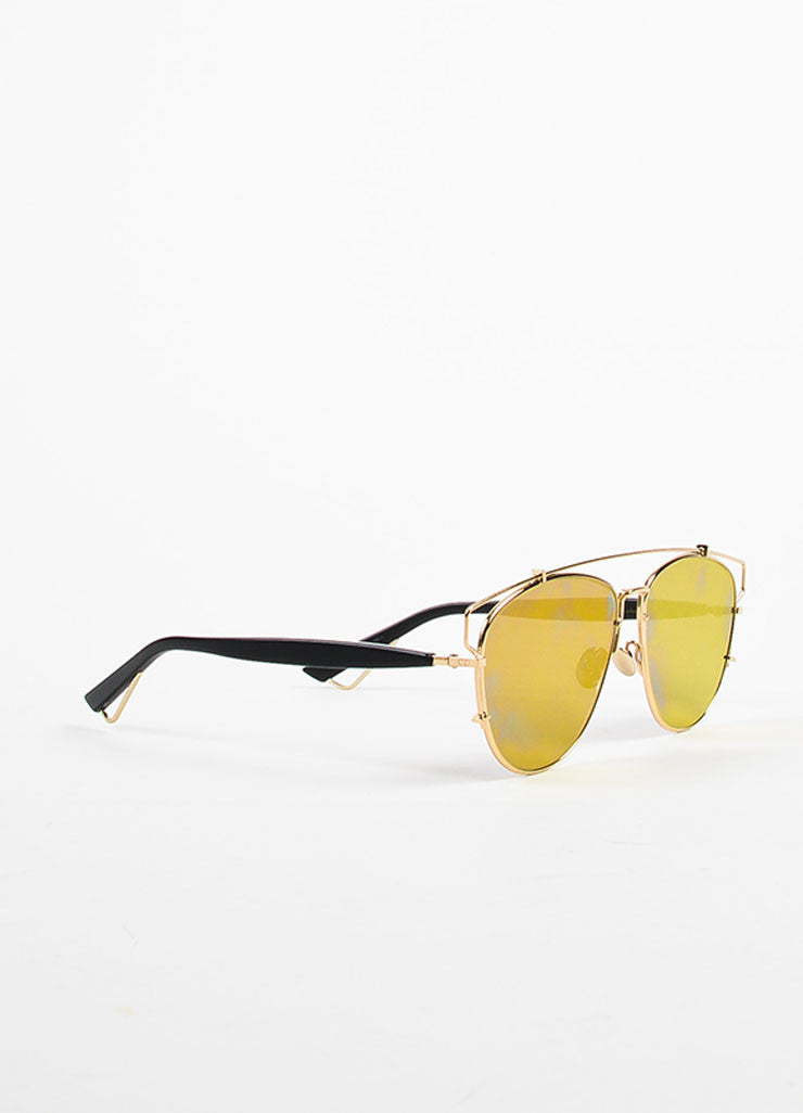 "Christian Dior Gold Toned Black and Blue Mirrored ""Technologic"" Aviator Sunglasses Sideview"