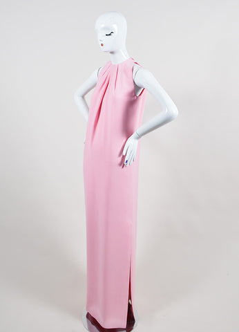 Pink Christian Dior Pleated Neck Side Slit Sleeveless Floor Length Gown Sideview