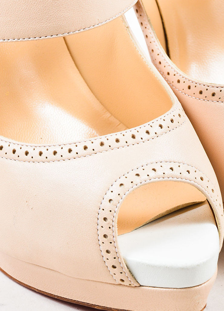 "Beige í_í_Œ¢í_?çí_í_Christian Louboutin Leather Buckle ""Luly 140"" Peep Toe Pumps Detail"