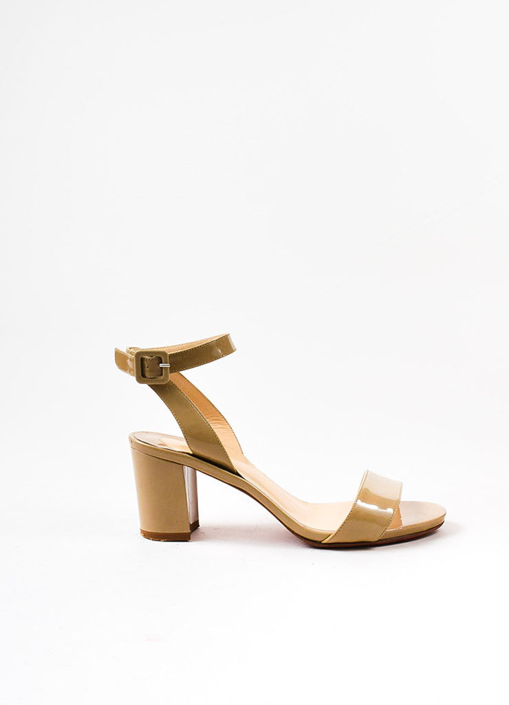 Christian Louboutin Beige Patent Leather Crisscross Strap Sandals Sideview
