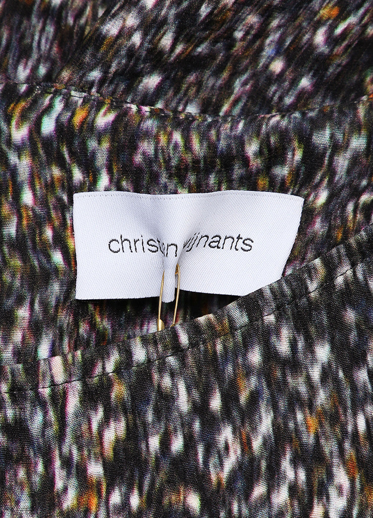 "Christian Wijnants New With Tags Multicolor ""Deus"" Blizzard Print Silk Shift Dress Brand"