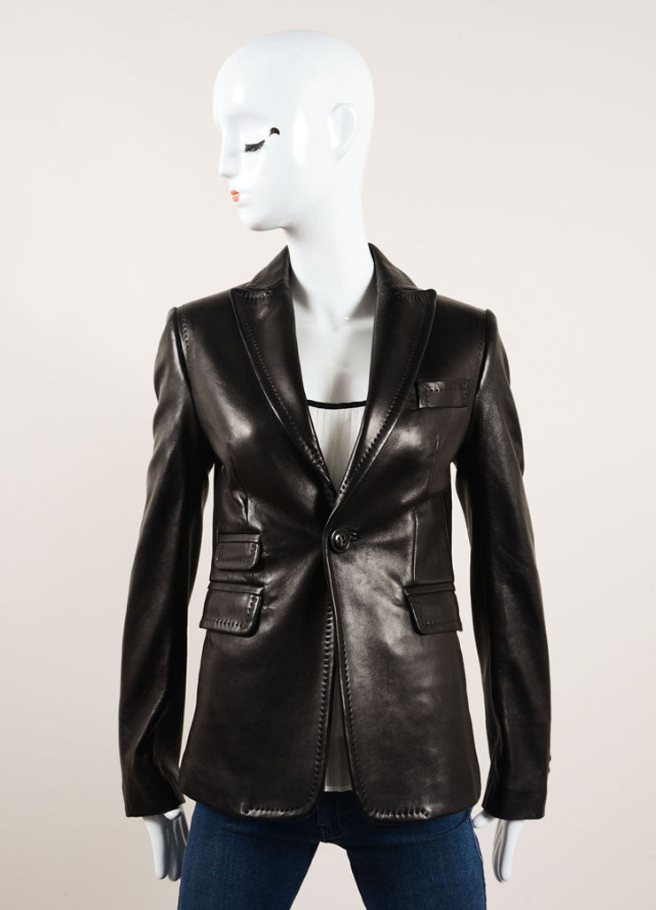 DSquared Black Leather Stitched Detail Blazer Jacket Frontview 2