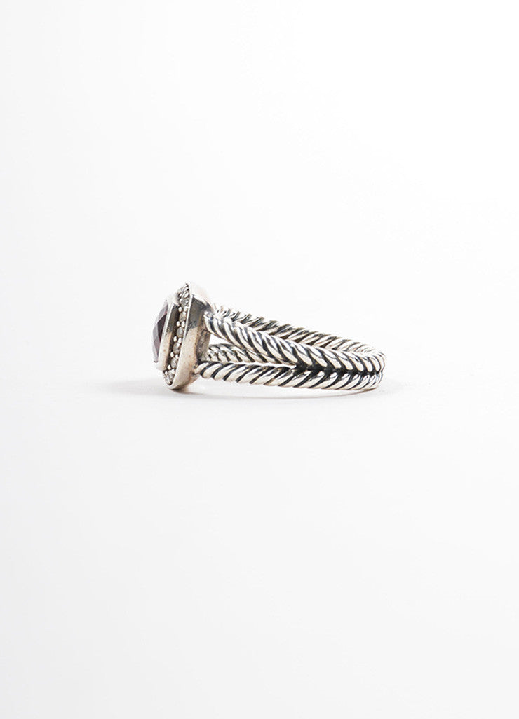 "David Yurman Sterling Silver and Red Garnet Pave Diamond ""Petite Albion"" Ring Sideview"