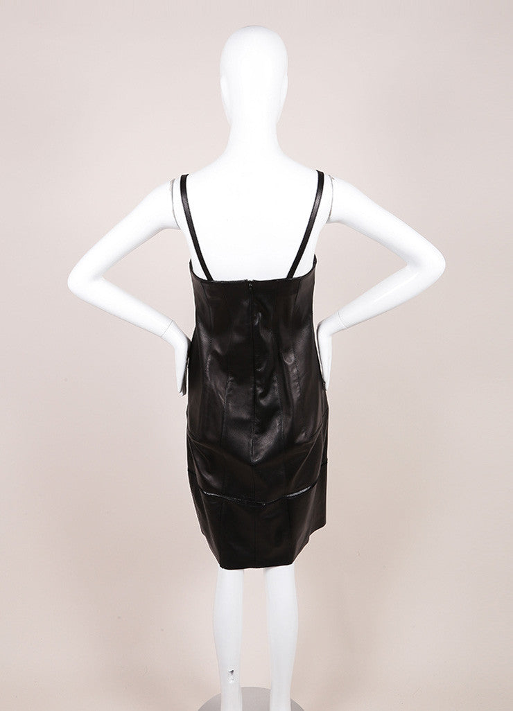 Derek Lam Black Leather Spaghetti Strap Dress Backview