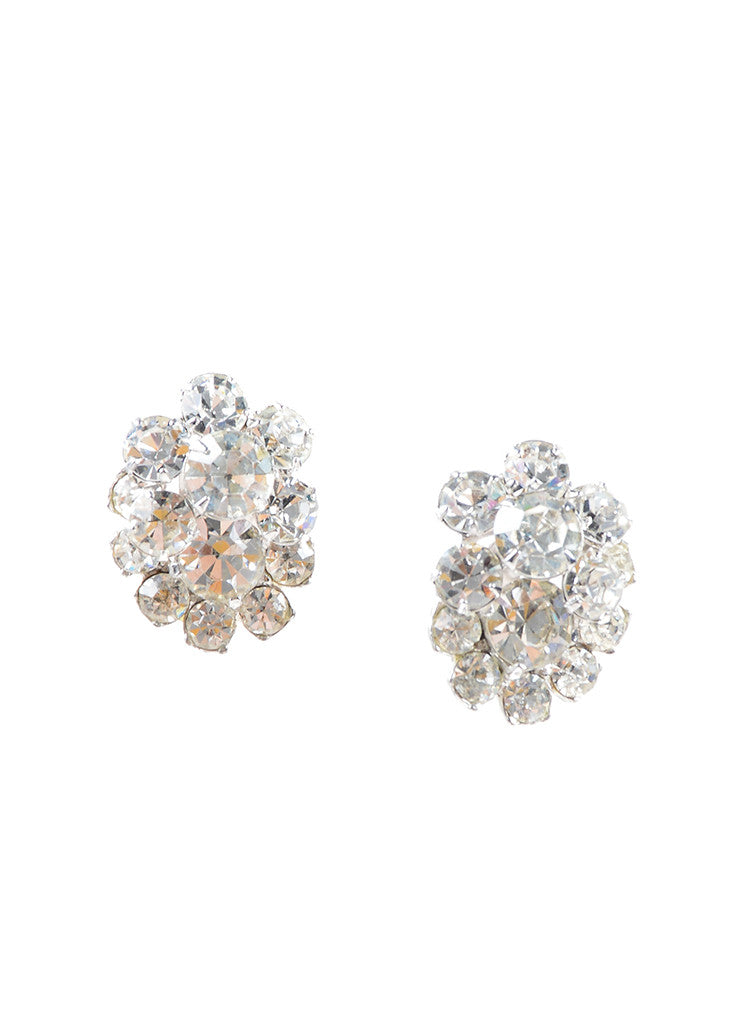Eisenberg Ice Silver Toned Rhinestone Cluster Embellished Earrings Frontview