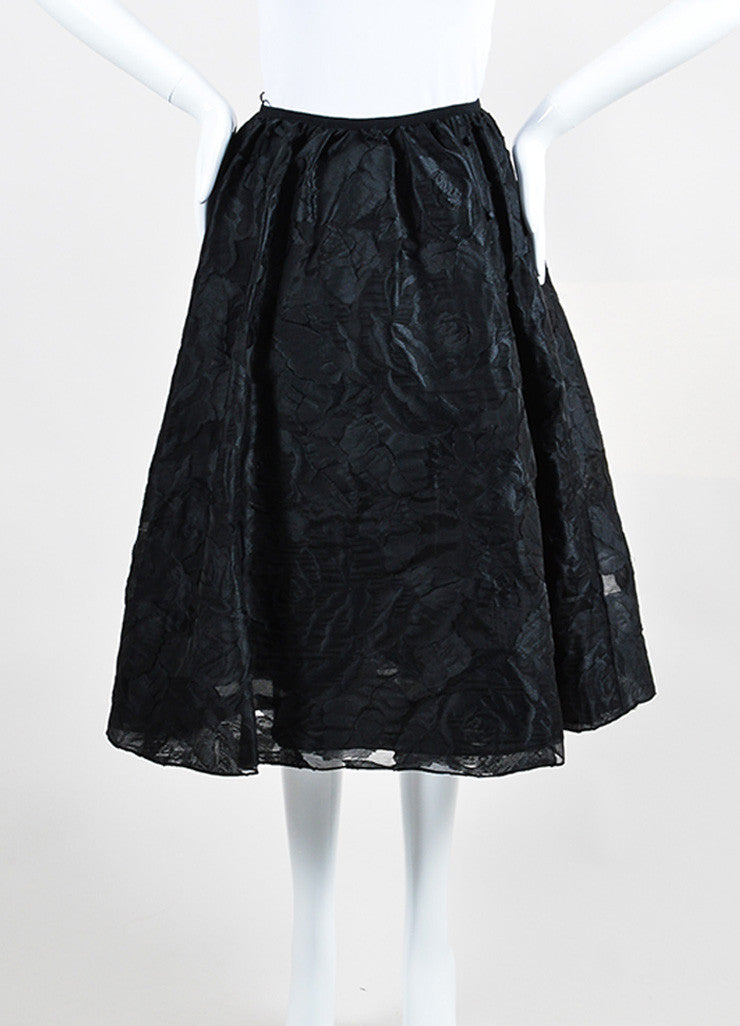 "Black Erdem Rose Floral Fil Coupe A-Line Full ""Sofia"" Skirt Frontview"