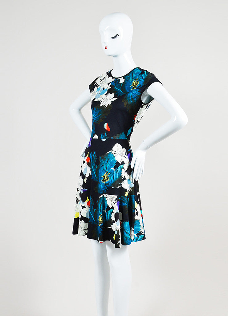 "Multicolor Erdem Jersey Floral ""Darlina"" Cap Sleeve Dress Sideview"