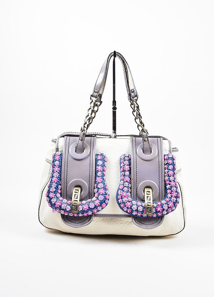 Fendi Cream, Grey, and Purple Leather Floral Embellished 'B' Shoulder Bag Frontview