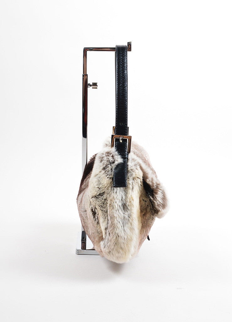 Fendi Grey Black Fur Baguette Shoulder Bag Sideview