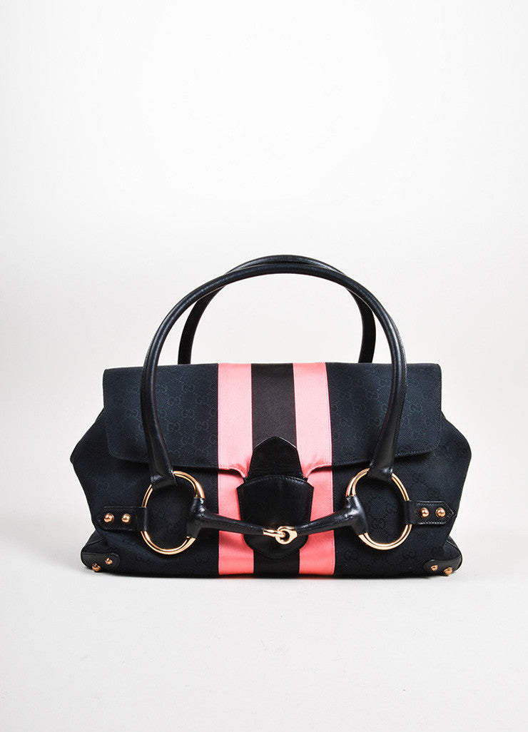 Black and Pink Gucci Canvas Monogram Horsebit Flap Satchel Bag Frontview