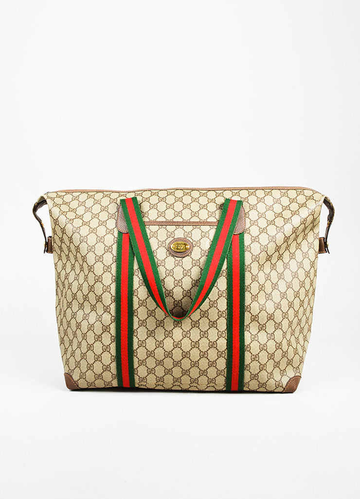 Gucci Brown, Red, and Green Monogram Coated Canvas Striped Zip Tote Bag Frontview