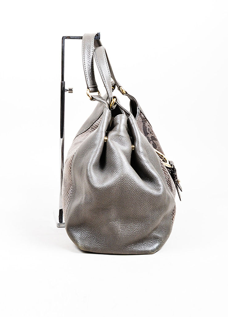 "Grey Gucci Leather Python Horsebit ""Greenwich"" Shoulder Bag Sideview"