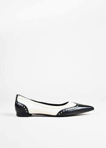 Gucci NIB Black White Leather Wingtip Spectator Pointed Toe Flats side