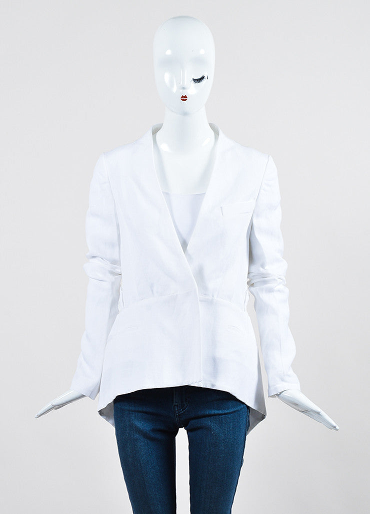 White Haider Ackermann Mixed Material Blazer Jacket Frontview 2