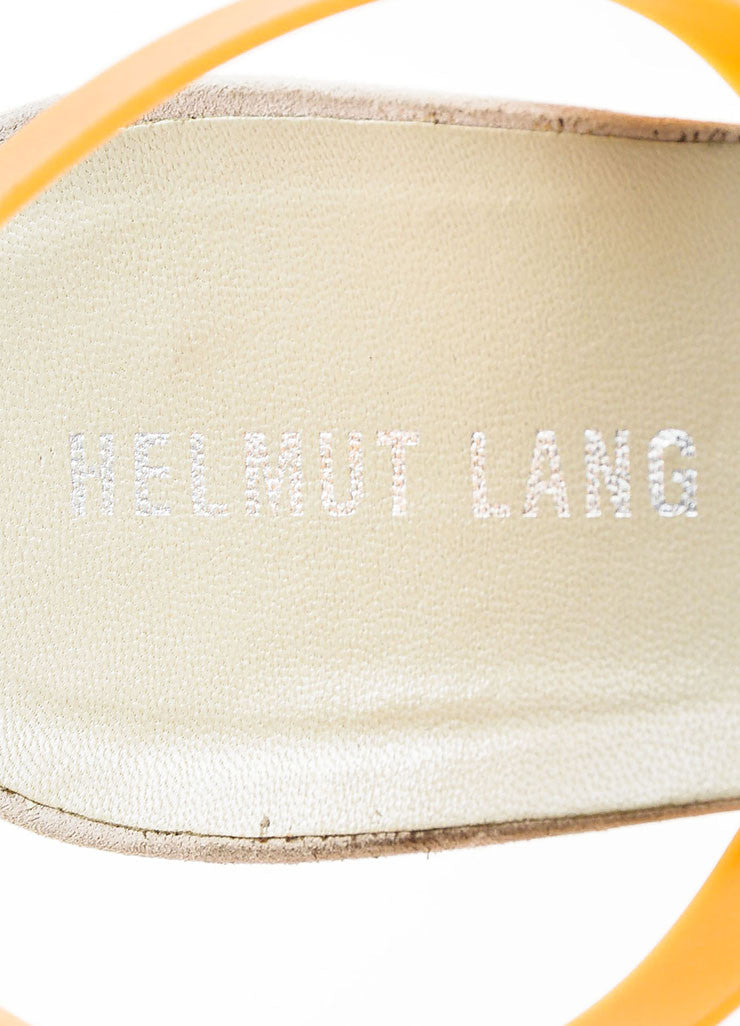 Helmut Lang White, Dove Grey, and Tan Suede Rubber Slingback Kitten Heels Brand