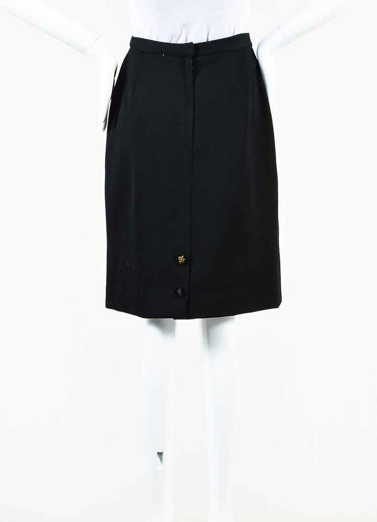 Hermes Black Wool Velvet Logo Button Pleated Pencil Skirt front