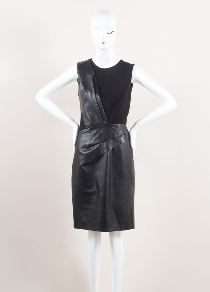 J. Mendel New With Tags Black Leather and Wool Crepe Contrast Pleated Sheath Dress Frontview
