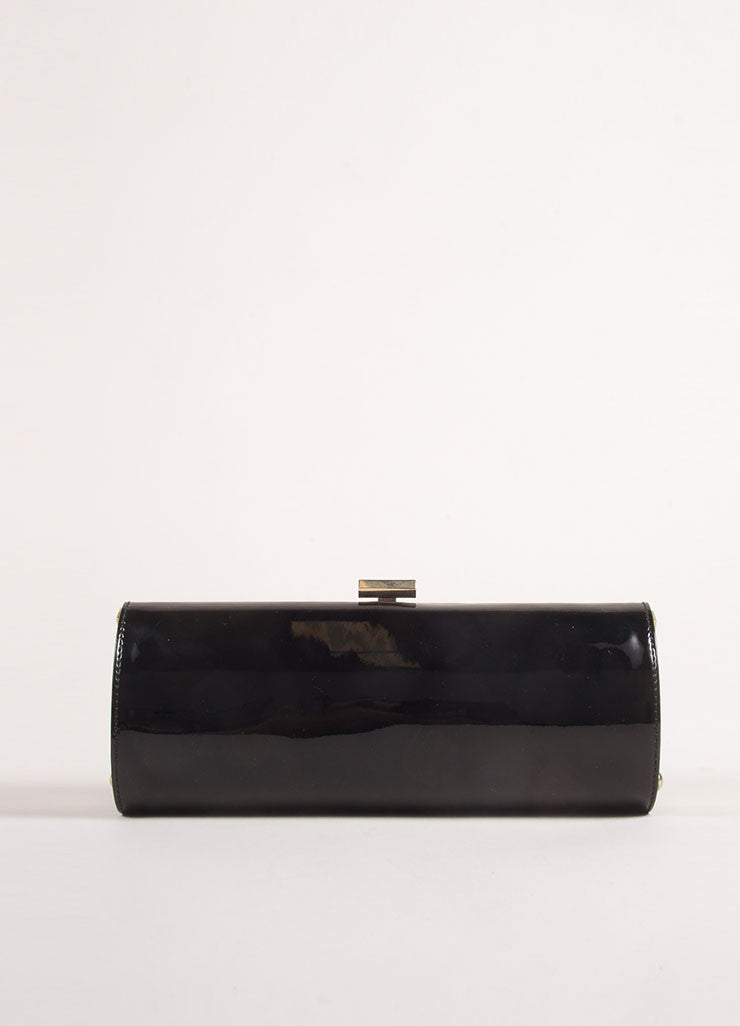 Jimmy Choo Black Patent Leather Evening Clutch Bag Frontview
