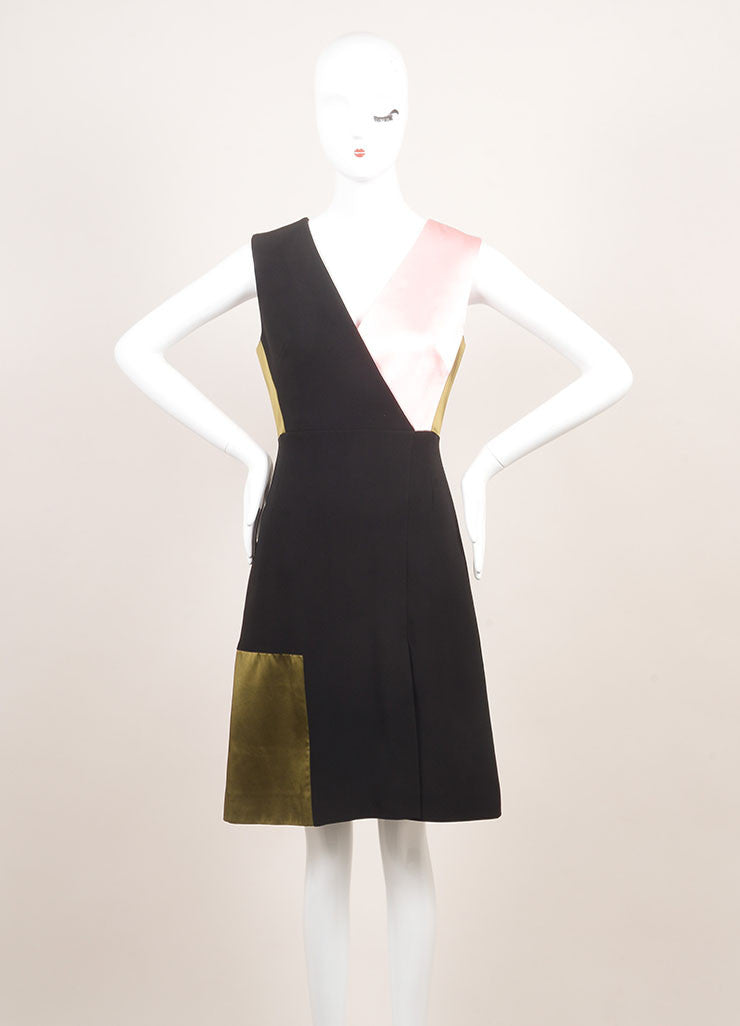 "Jonathan Saunders New With Tags Black, Green, and Pink Satin and Crepe ""Adeline"" Dress Frontview"