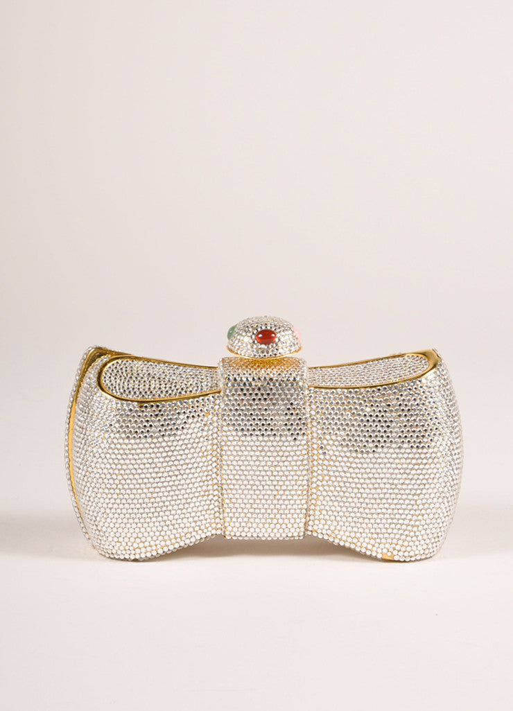 Judith Leiber Gold Toned Crystal Embellished Bow Minaudiere Shoulder Bag Frontview