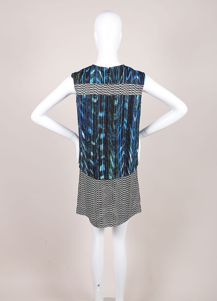 "Kenzo New With Tags Blue and Black ""Sapphire Distortion"" Print Sleeveless Shift Dress Backview"