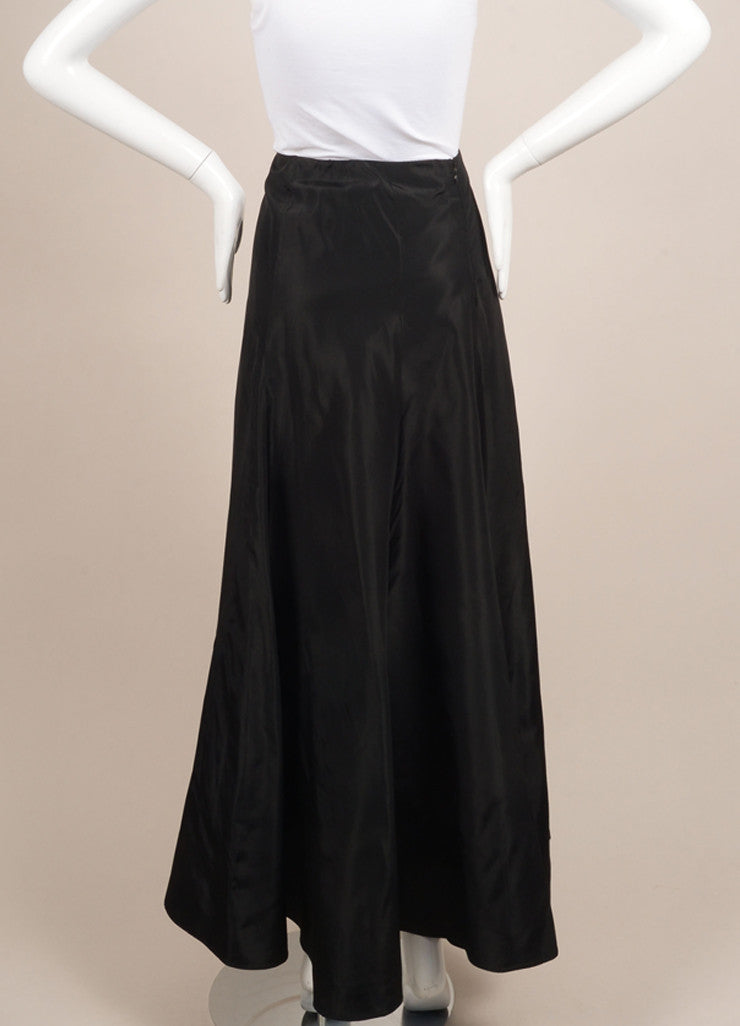 Kevan Hall Black Silk Taffeta Maxi Skirt Backview