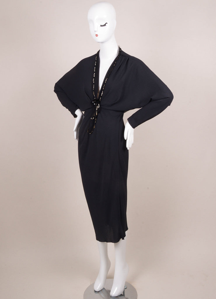 Lanvin Navy Crepe Beaded Jewel Embellished Mesh Trim Long Sleeve Dress Sideview