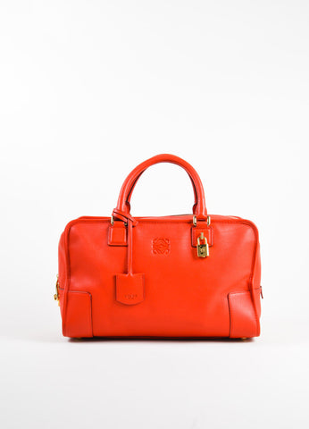 "Loewe Red Leather Limited Edition ""Amazona 36"" Satchel Bag Frontview"