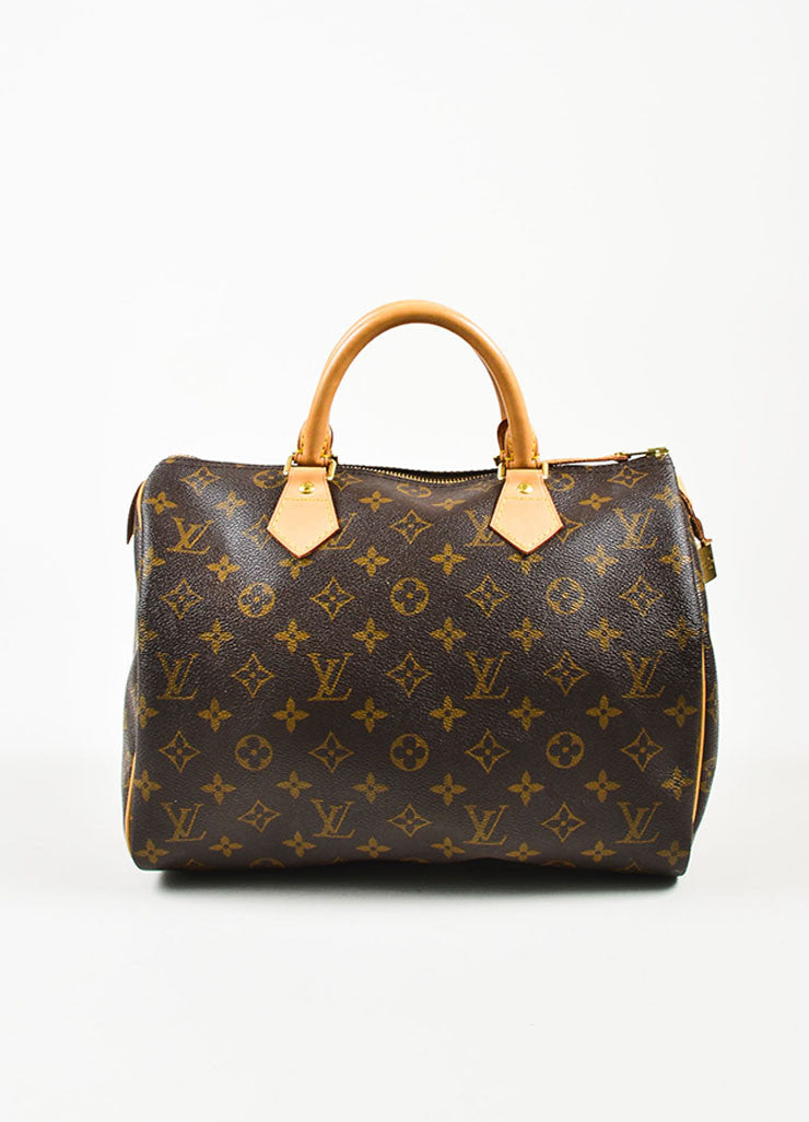 "Brown and Tan Louis Vuitton Coated Canvas Monogram ""Speedy 30"" Satchel Bag Frontview"