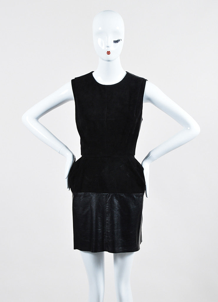 Black Louis Vuitton Leather Suede Panel Sleeveless Dress Frontview