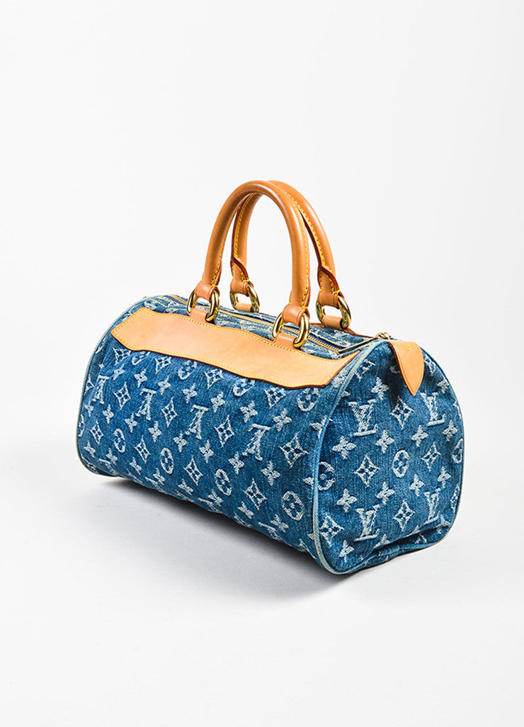 "Louis Vuitton Blue Monogram ""Neo Denim Speedy"" Duffel Bag Sideview"