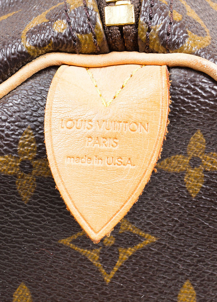 "Brown Louis Vuitton Coated Canvas and Leather Monogram ""Speedy 25"" Satchel Bag Brand"