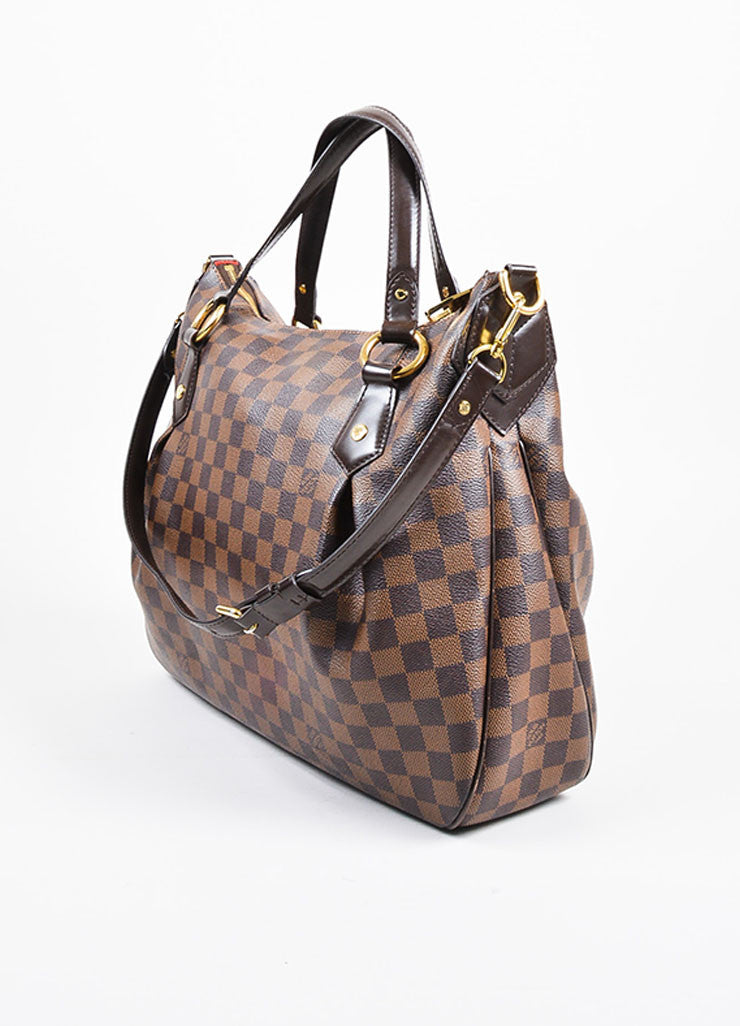 "Louis Vuitton Brown ""Ebene Damier"" Coated Canvas Checkered ""Evora MM"" Tote Bag Sideview"