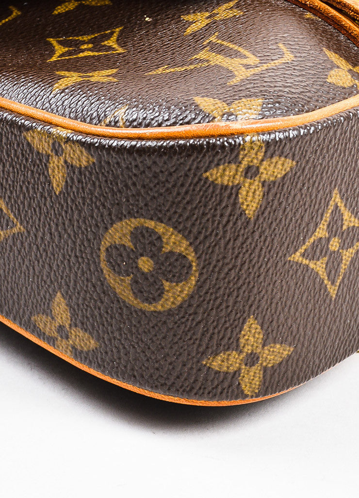 "Louis Vuitton Brown and Tan Coated Canvas Leather Monogram ""Marelle Sac a Dos"" Bag Detail"