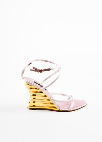"Pink and Gold Louis Vuitton Satin ""Lime"" Wedge Sandals Sideview"